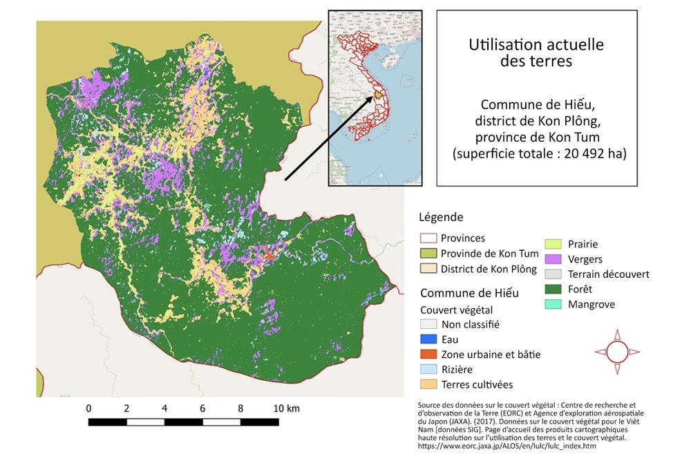 Carte 1. Utilisation actuelle des terres dans la commune de Hiếu