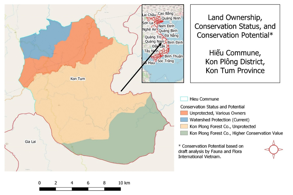 Map 2. Conservation and land ownership in Hiếu Commune