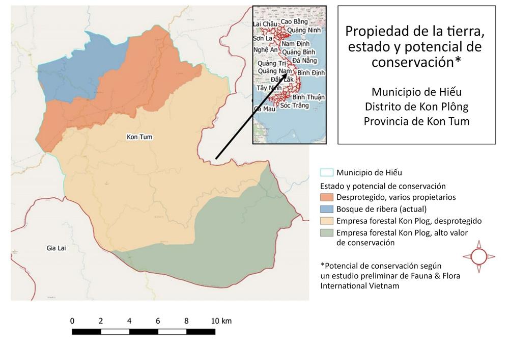 Mapa 2. Conservación y propiedad de la tierra en Hiếu